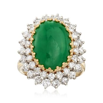 C. 1980 Vintage Green Jade and 2.00 ct. t.w. Diamond Ring in 18kt Yellow Gold. Size 8, , default