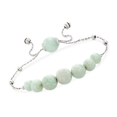Graduated Green Jade Bead Bolo Bracelet in Sterling Silver