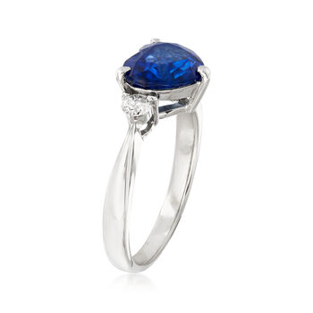 C. 1980 Vintage 2.51 Carat Sapphire Heart and .20 ct. t.w. Diamond Ring in Platinum. Size 6.25