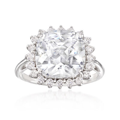 6.50 ct. t.w. CZ Halo Ring in Sterling Silver, , default