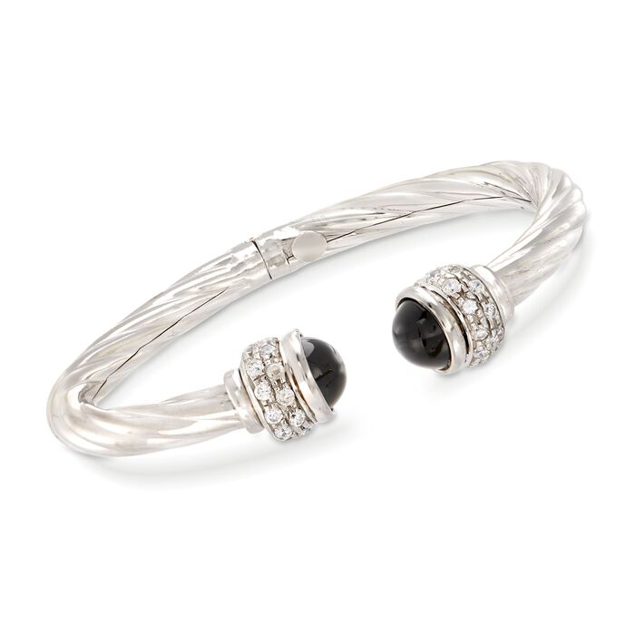Italian Black Onyx and 1.30 ct. t.w. CZ Twisted Cuff Bracelet in Sterling Silver, , default