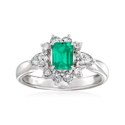C. 1990 Vintage .53 Carat and .66 ct. t.w. Diamond Ring in Platinum