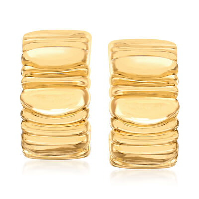 C. 1992 Vintage Cartier 18kt Yellow Gold Ridged Clip-On Earrings