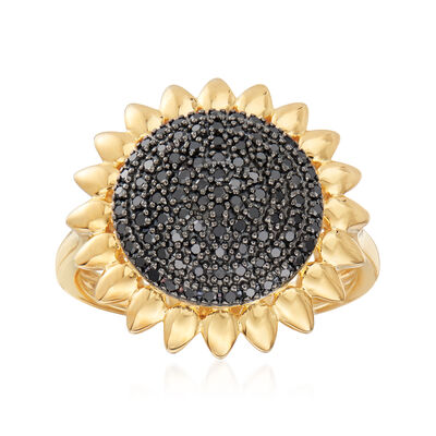 .33 ct. t.w. Black Diamond Sunflower Ring in 18kt Gold Over Sterling