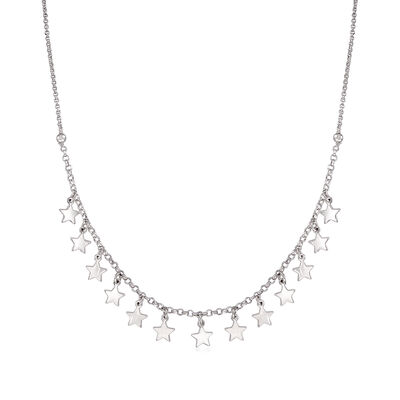 Italian Sterling Silver Multi-Star Charm Necklace
