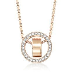 "Swarovski Crystal ""Hollow"" Pave Crystal Open Circle Necklace in Rose Gold Plate. 15""  , , default"