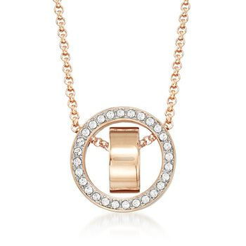 """Swarovski Crystal """"Hollow"""" Pave Crystal Open Circle Necklace in Rose Gold Plate. 15""""  , , default"""