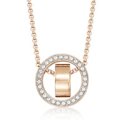 "Swarovski Crystal ""Hollow"" Pave Crystal Open Circle Necklace in Rose Gold Plate, , default"