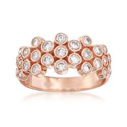 .75 ct. t.w. Diamond Bezel Multi-Row Ring in 14kt Rose Gold, , default