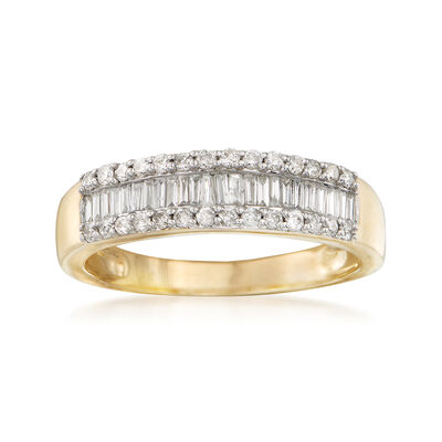 .50 ct. t.w. Baguette and Round Diamond Ring in 14kt Yellow Gold