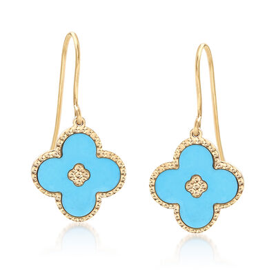 Italian Turquoise Flower Drop Earrings in 14kt Yellow Gold, , default