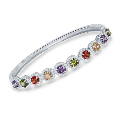 6.10 ct. t.w. Multicolored CZ Halo Bangle Bracelet in Sterling Silver