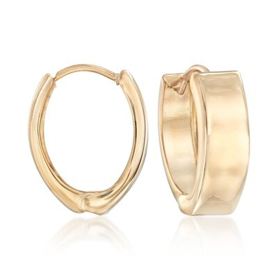 14kt Yellow Gold Wide Hoop Earrings, , default