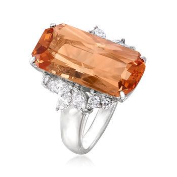 C. 1990 Vintage 9.00 Carat Imperial Topaz and .60 ct. t.w. Diamond Ring in Platinum. Size 5, , default