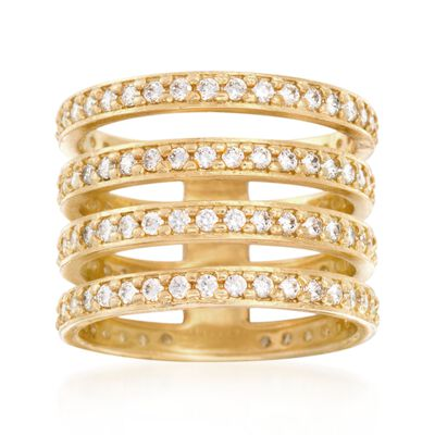 Italian 2.00 ct. t.w. CZ Four-Row Ring in 24kt Yellow Gold Over Sterling Silver, , default