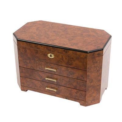 Burlwood and Ebony Locking Jewelry Box