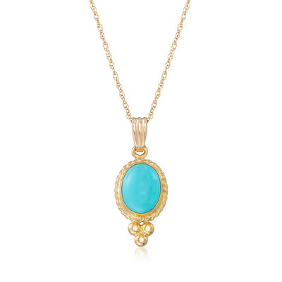Turquoise Rope Bezel Pendant Necklace in 14kt Yellow Gold, , default