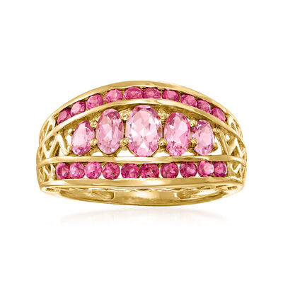 C. 1990 Vintage 2.30 ct. t.w. Pink Tourmaline Ring in 14kt Yellow Gold