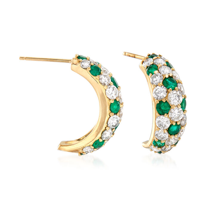 """C. 1990 Vintage 3.00 ct. t.w. Diamond and 1.44 ct. t.w. Emerald J-Hoop Earrings in 18kt Yellow Gold. 5/8"""", , default"""