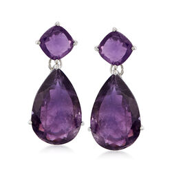 20.00 ct. t.w. Amethyst Drop Earrings in Sterling Silver, , default