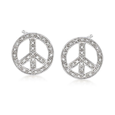 .15 ct. t.w. Diamond Peace Sign Earrings in Sterling Silver