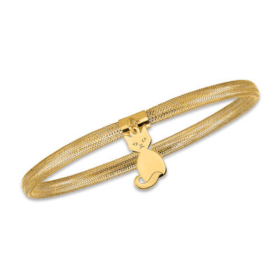 Italian 14kt Yellow Gold Cat Dangle Mesh Bracelet, , default