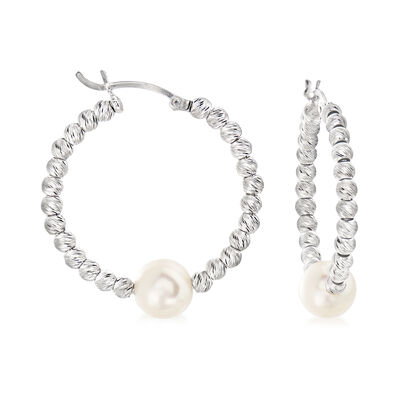 8-8.5mm Cultured Pearl Hoop Earrings in Sterling Silver, , default