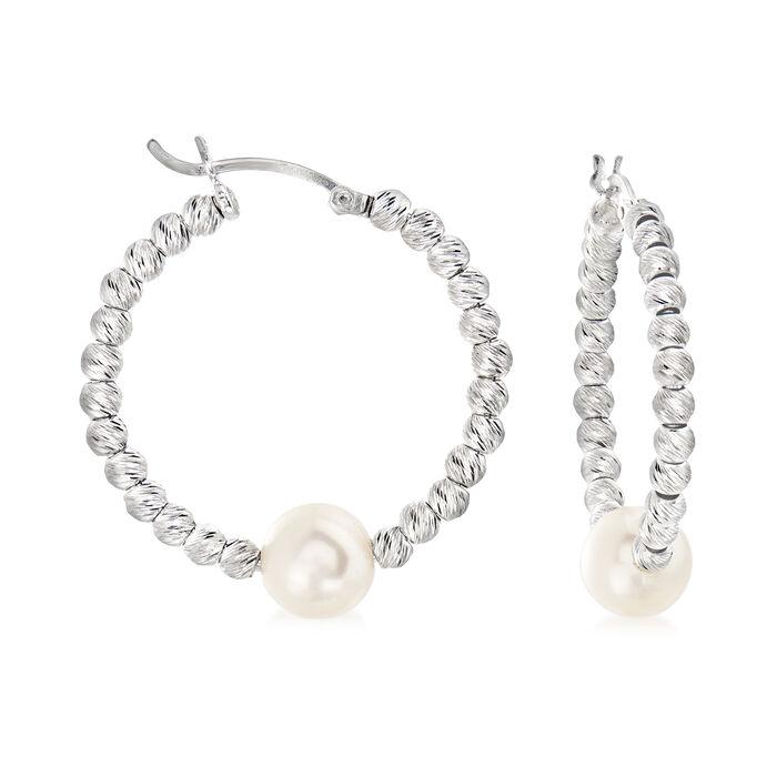 8-8.5mm Cultured Pearl Hoop Earrings in Sterling Silver