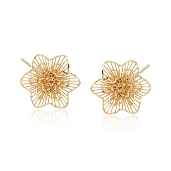 14kt Yellow Gold Floral Stud Post Earrings. , , default
