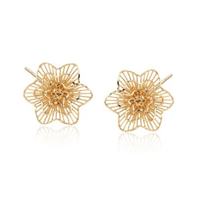 14kt Yellow Gold Floral Stud Post Earrings, , default