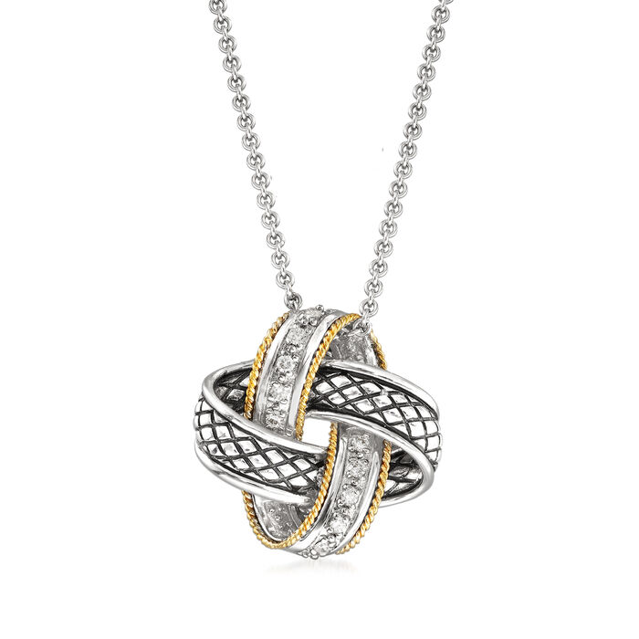 "Andrea Candela ""Nudo De Amor"" .14 ct. t.w. Diamond Love Knot Pendant Necklace in Sterling Silver and 18kt Gold. 17"", , default"