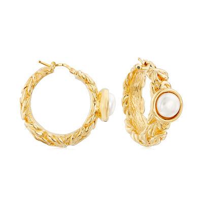 Italian Cultured Pearl Byzantine Hoop Earrings in 14kt Yellow Gold