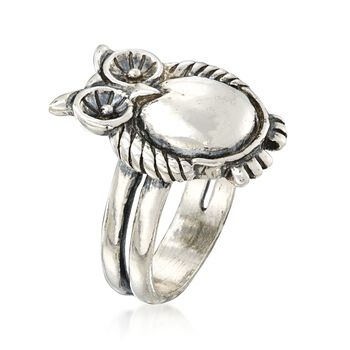 Sterling Silver Owl Ring, , default