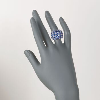 5.80 ct. t.w. Tanzanite and .36 ct. t.w. Diamond Multi-Row Ring in Sterling Silver, , default
