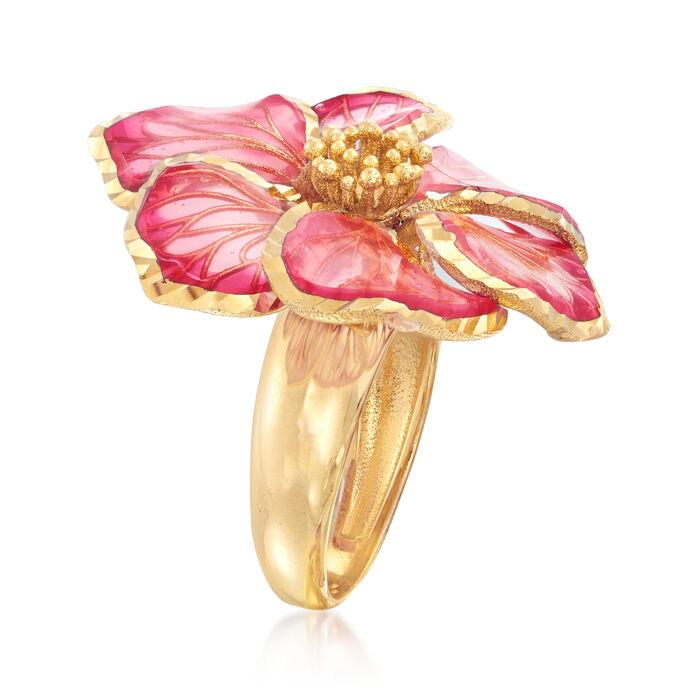 Italian Pink Enamel Flower Ring in 18kt Gold Over Sterling