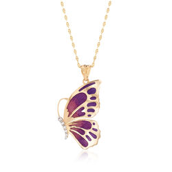 "Italian 18kt Yellow Gold Butterfly Pendant Necklace With Enamel and CZ Accents. 18"", , default"