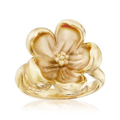 14kt Yellow Gold Floral Ring, , default