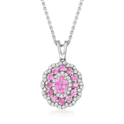 1.30 ct. t.w. Pink Sapphire and .32 ct. t.w. Diamond Flower Pendant Necklace in 14kt White Gold