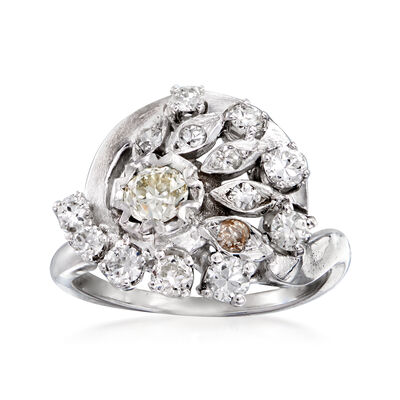 C. 1950 Vintage .97 ct. t.w. Diamond Cluster Ring in 14kt White Gold