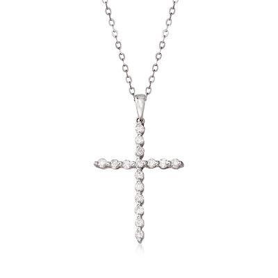 C. 1990 Vintage .50 ct. t.w. Diamond Cross Pendant Necklace in 14kt White Gold, , default