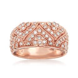 C. 1990 Vintage Diamond Ring in 14kt Rose Gold, , default