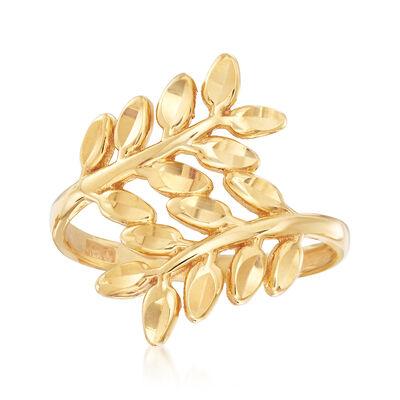 22kt Yellow Gold Diamond-Cut Leaf Motif Bypass Ring, , default