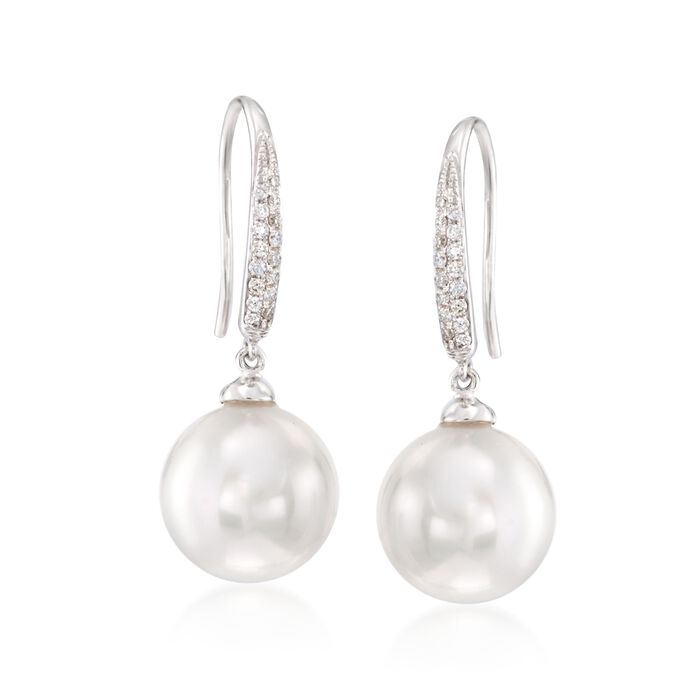 10-11mm Cultured South Sea Pearl and .12 ct. t.w. Diamond Earrings in 18kt White Gold, , default