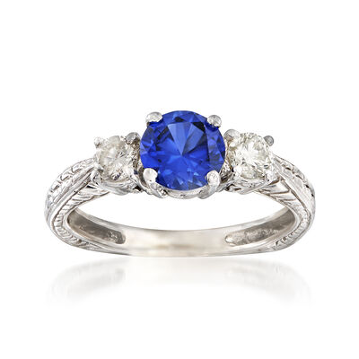 C. 1990 Vintage 1.00 Carat Sapphire and .35 ct. t.w. Diamond Ring in 14kt White Gold, , default