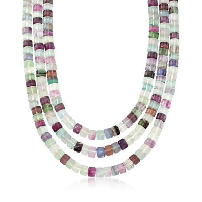 Multicolored Fluorite Three-Strand Bead Necklace With Sterling Silver, , default