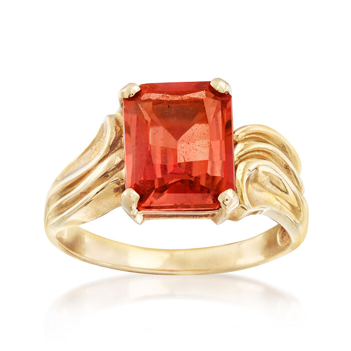 C. 1990 Vintage 5.50 Carat Synthetic Orange Sapphire Ring in 10kt Yellow Gold. Size 7, , default