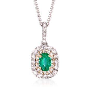 ".50 Carat Emerald and .45 ct. t.w. Diamond Pendant Necklace in 14kt Two-Tone Gold. 18"", , default"