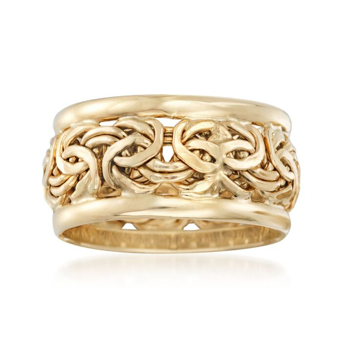 18kt Yellow Gold Bordered Byzantine Ring, , default