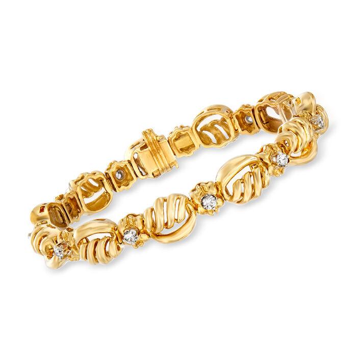 "C. 1990 Vintage 1.10 ct. t.w. Diamond Swirl-Link Bracelet in 14kt Yellow Gold. 7"", , default"
