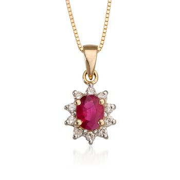 ".10 ct. t.w. Diamond and .40 Carat t.w. Ruby Pendant Necklace in 14kt Yellow Gold. 18"", , default"